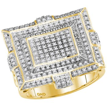 10kt Yellow Gold Mens Round Diamond Square Cluster Fashion Ring 5/8 Cttw