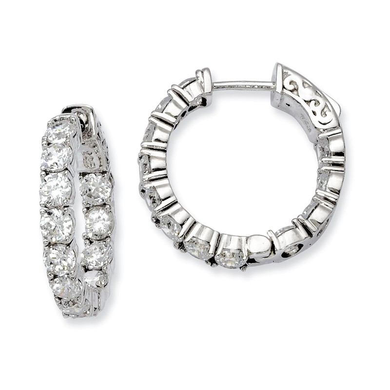 925 Sterling Silver Rhodium-plated Round In /& Out CZ Hoop Earrings by Sterling Shimmer