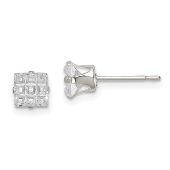 Sterling Silver 5mm Square Snap Set Laser-cut CZ Stud Earrings