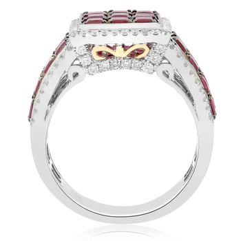 Square Ruby Cluster Ring