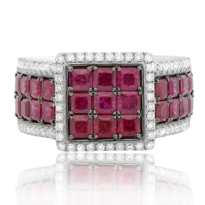 Roman & Jules Square Ruby Cluster Ring