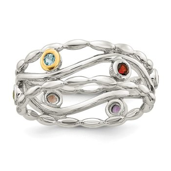 Sterling Silver w/ 14K Accent Multi-colored Ring