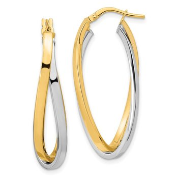 14k Two Tone Polished Oval Double Hoops