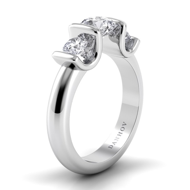 Danhov Voltaggio Single Shank 3 Stone Engagement Ring