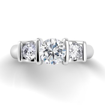 Voltaggio Single Shank 3 Stone Engagement Ring