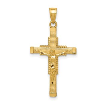 14k Textured Crucifix Pendant