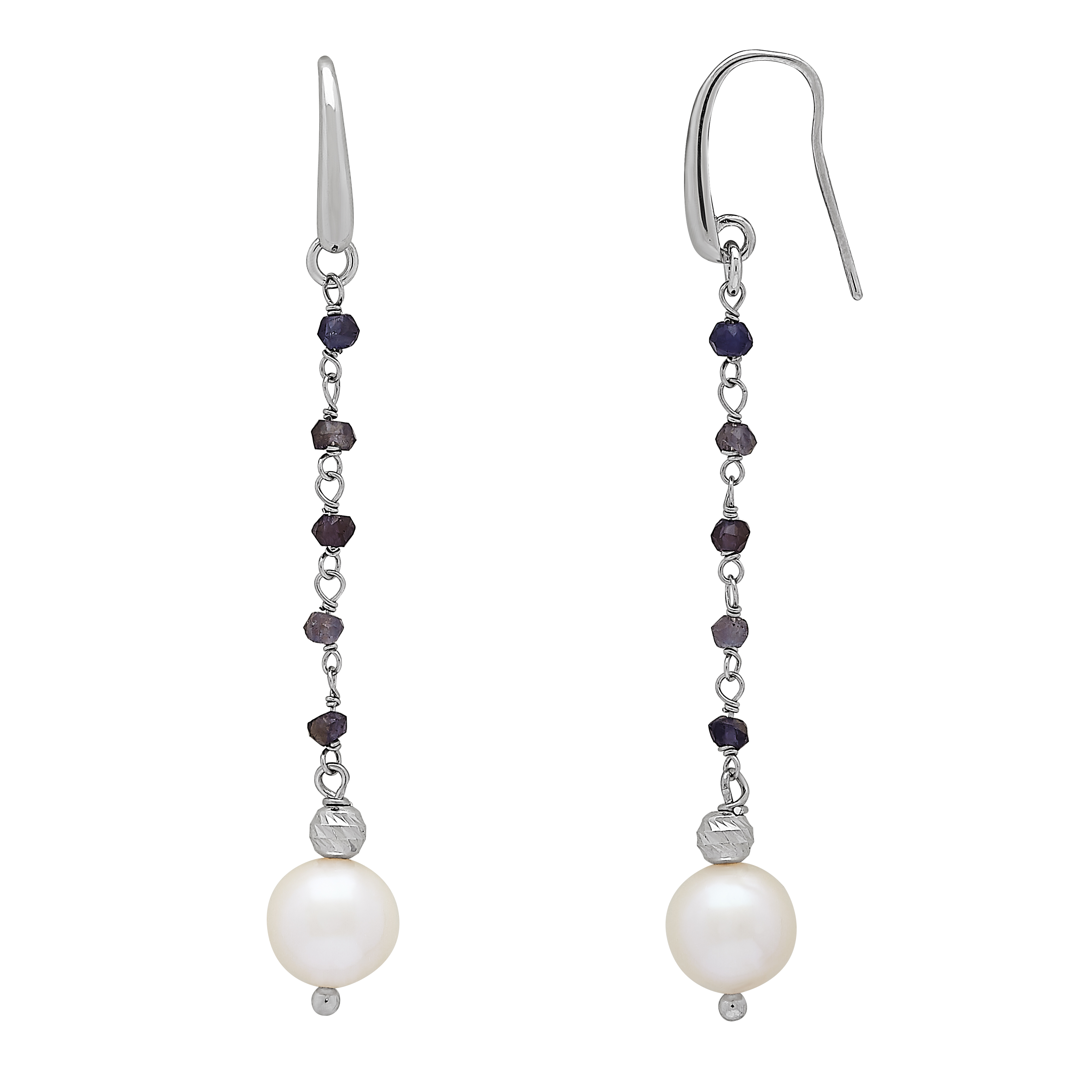 Sterling Silver 8mm Grey Ringed Cultured Freshwater Pearl Dangle Earrings