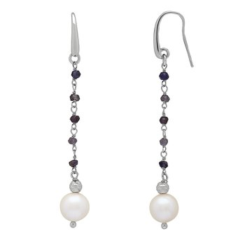 Honora Sterling Silver 8-9mm White Freshwater Cultured Pearls Faceted Iolite Drop Earrings