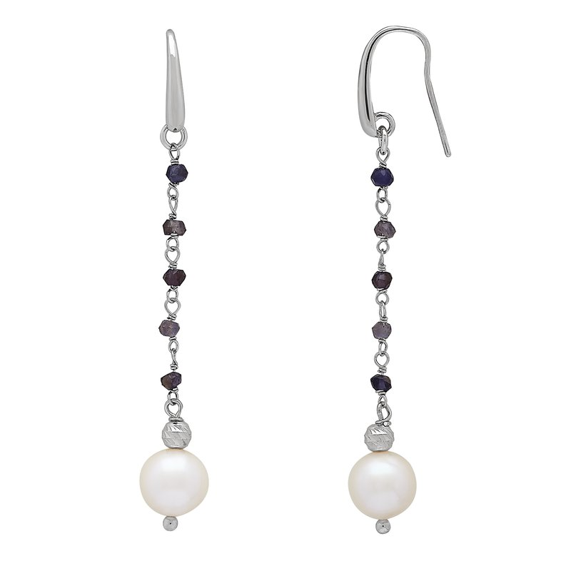 Honora Honora Sterling Silver 8-9mm White Freshwater Cultured Pearls Faceted Iolite Drop Earrings
