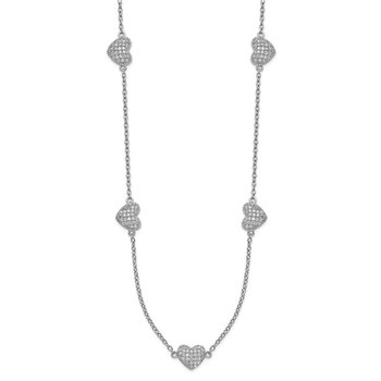 Sterling Silver Rhodium-plated Hearts w/2in ext. Necklace