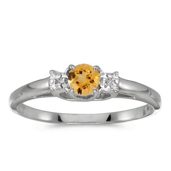10k White Gold Round Citrine And Diamond Ring