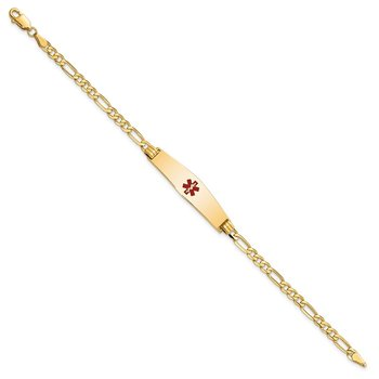 14K Medical Soft Diamond Shape Red Enamel Flat Figaro Link ID Bracelet