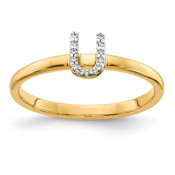 14k White Gold Diamond Initial U Ring