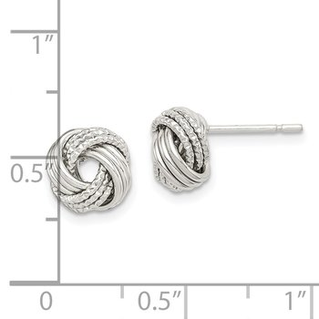 Sterling Silver Textured Love Knot Earrings