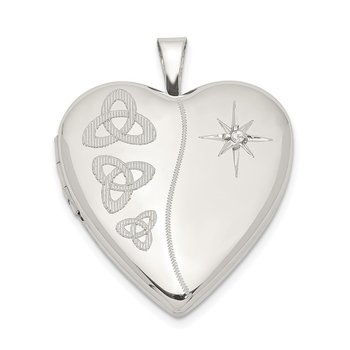 Sterling Silver 20mm Diamond Trinity Heart Locket