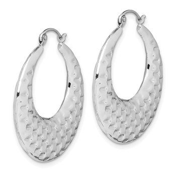 10k Polished Textured Hoop Earrings