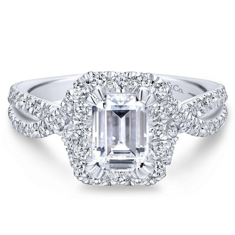 Gabriel Bridal Emerald Cut Halo Engagement Ring