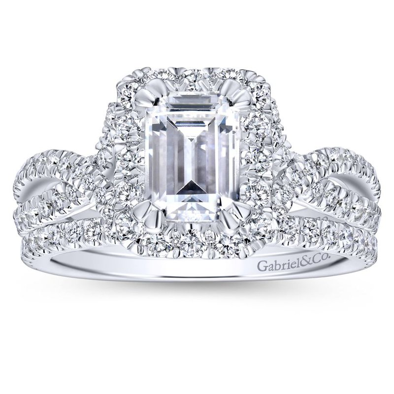 Gabriel Bridal 14K White Gold Halo Emerald Cut Diamond Engagement Ring