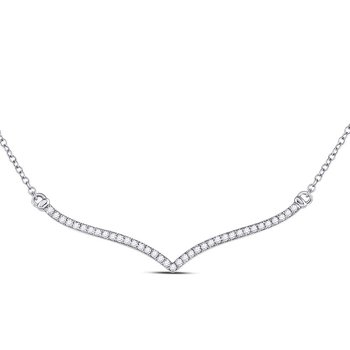 10kt White Gold Womens Round Diamond Contoured Bar Pendant Necklace 1/4 Cttw