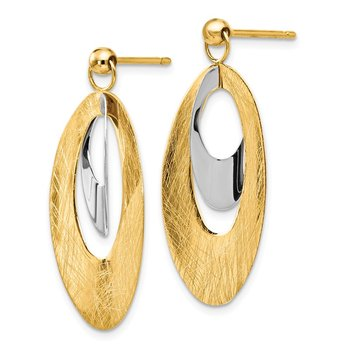 Leslie's 14K Two-tone Polished & Scratch Finish Oval Post Earrings
