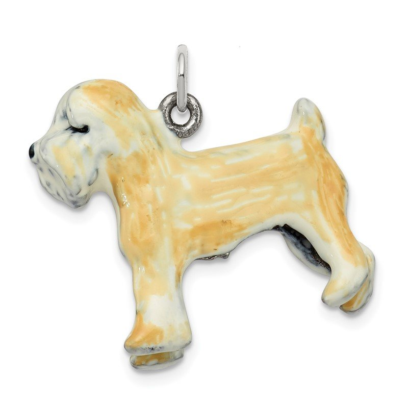 Quality Gold Silver Enamel Soft Coated Wheaton Terrier Charm