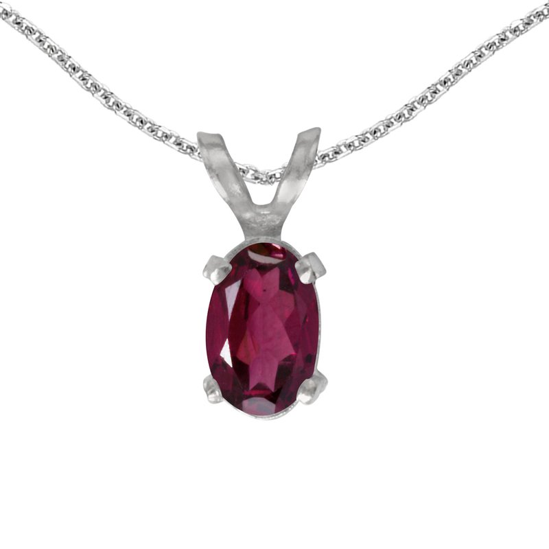 Color Merchants 14k White Gold Oval Rhodolite Garnet Pendant