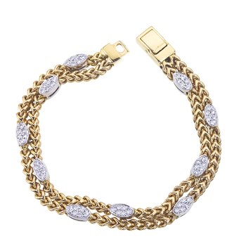 Two-Tone 2 Row Braided Bracelet with Diamond Ovals