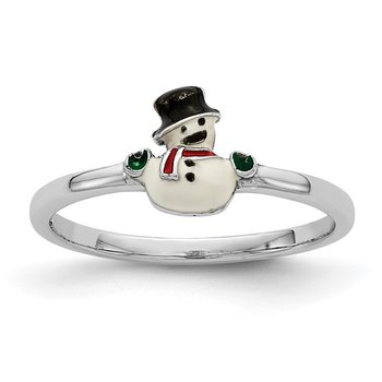 Sterling Silver Rhodium-plated Childs Enameled Snowman Ring