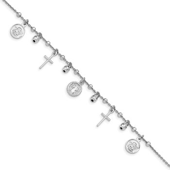 Sterling Silver Cross & Mary Charm with 1in .ext Bracelet