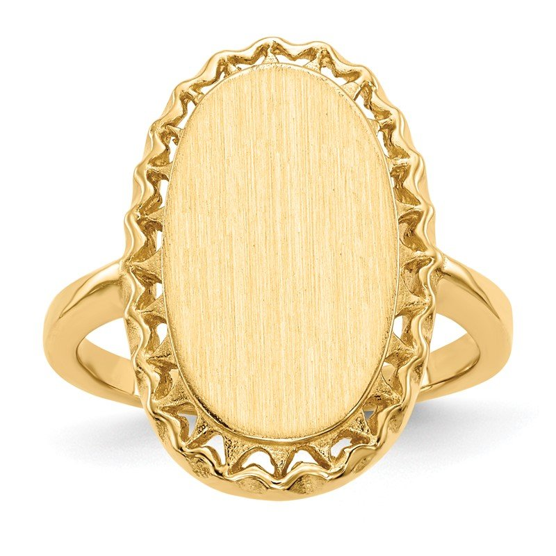 Quality Gold 14k 16.5x9.5mm Open Back Signet Ring