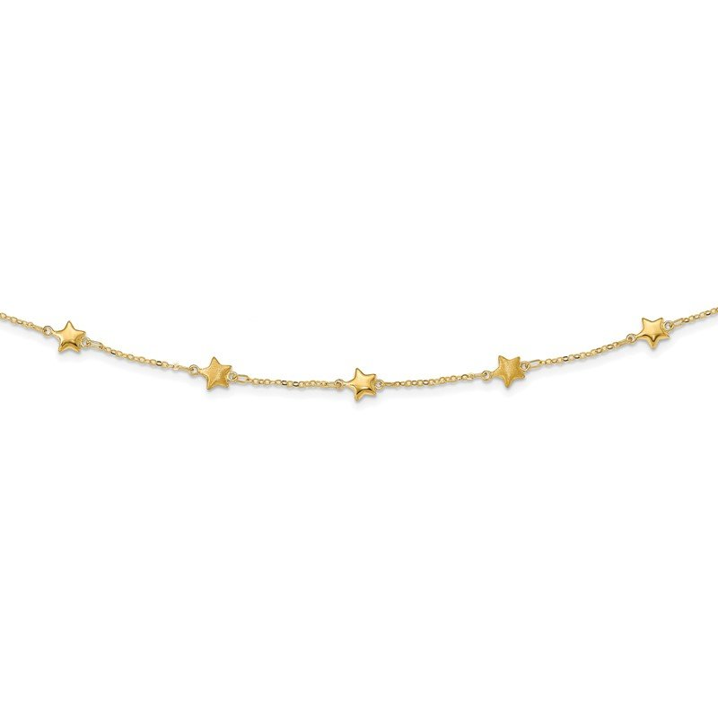 Quality Gold 14K Polished Stars with 2 in ext Necklace