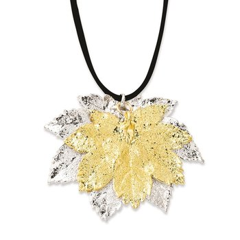 Silver/24k Gold Dipped Double Full Moon Maple Leaf 20in Necklace
