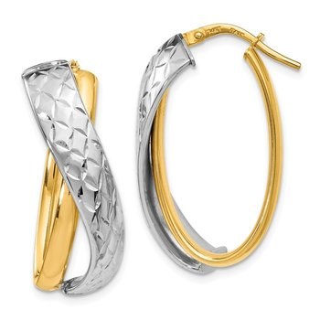 Leslie's 14K Polished Two-tone Hoop Earrings