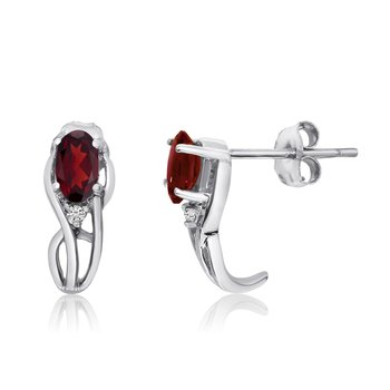 14K White Gold Curved Garnet and Diamond Earrings