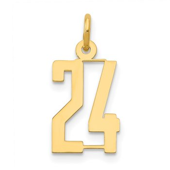 14k Small Polished Elongated 24 Charm