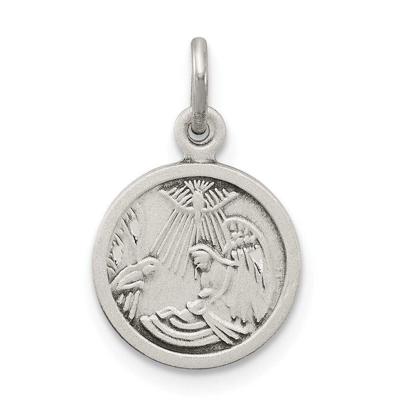Arizona Diamond Center Collection Sterling Silver Antiqued Baptism Medal