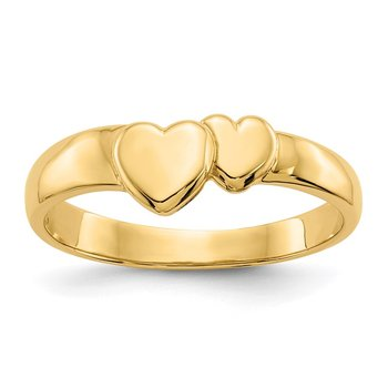 14k Gold Polished Adjoining Hearts Ring