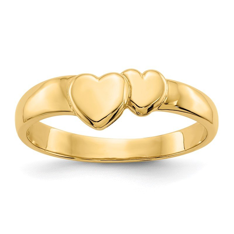 Quality Gold 14k Gold Polished Adjoining Hearts Ring