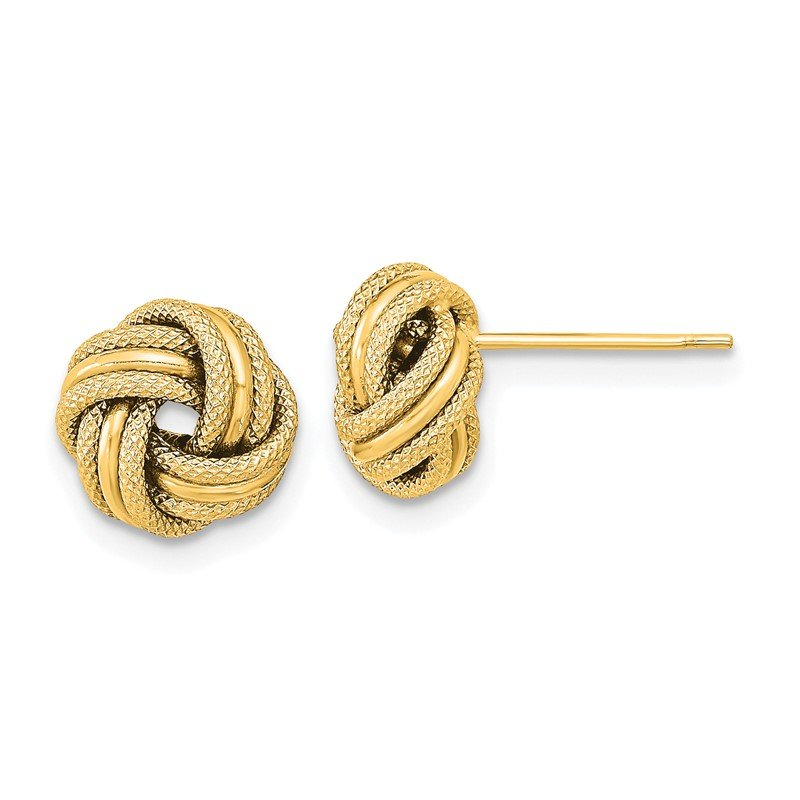 Quality Gold 14k Polished Textured Triple Love Knot Earrings