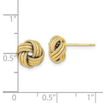14k Polished Textured Triple Love Knot Earrings