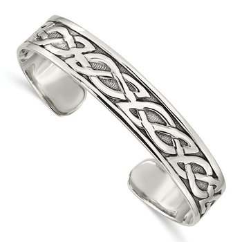 Sterling Silver 12.5mm Cuff Bangle Bracelet