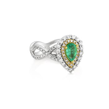 Emerald & Diamond Halo Ring 18KW