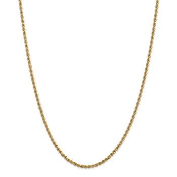 14k 2.5mm Regular Rope Chain Anklet