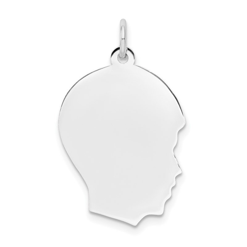 Quality Gold 14k White Plain Medium.011 Depth Facing Right Engravable Boy Charm