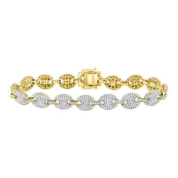 10kt Yellow Gold Mens Round Diamond Gucci Link Fashion Bracelet 6.00 Cttw