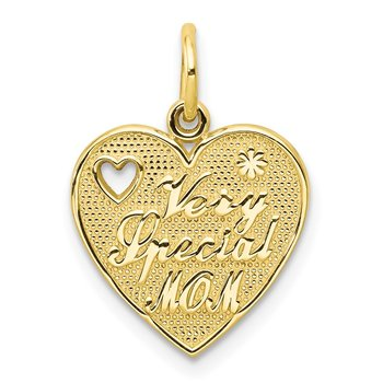 10K VERY SPECIAL MOM Heart Charm