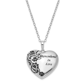Sterling Silver Antiqued Pet Ash Holder 18in. Necklace