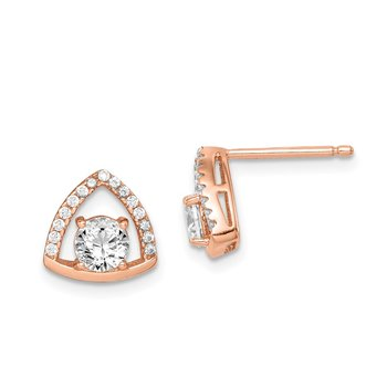 Sterling Silver Rose-tone Triangle CZ Stud Earrings