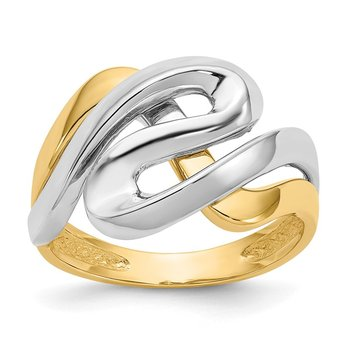 14K Two-Tone Swirl Ring
