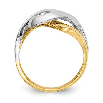 14Kw/Rhodium Swirl Ring
